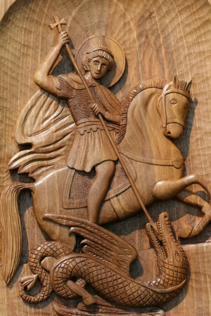 wooden icon of saint george