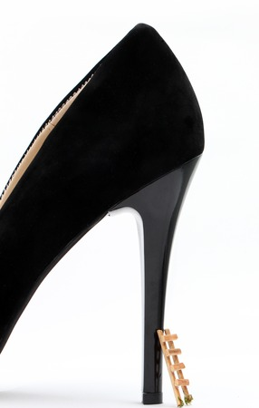 Black high heel isolated on white background,