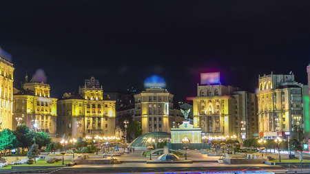 Maidan nezalezhnosti, independence square by night with illumination timelapse hyperlapse, Kiev, Ukraine 4K