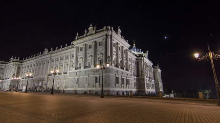 Royal Palace of Madrid (Palacio Real de Madrid) timelapse hyperlapse at night. Built between 1738 and 1755 in Baroque and neo-classic styles by King Philip V.