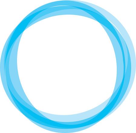 Illustration pour Retro styled interlocking circles in shades of blue - image libre de droit