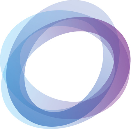 Illustration for Retro styled interlocking circles in shades of blue and purple on white background  - Royalty Free Image