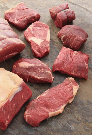 selection of bef steak cuts