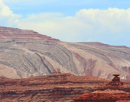 Twisted and tortured geology amazes in the vicinity of Mexican Hat Rock, Utah.
