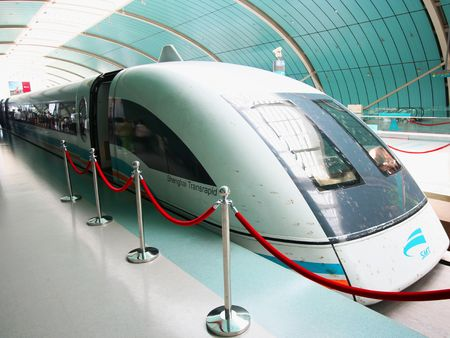 A Shanghai Transrapid Maglev, or Bullet, Train Capable of Speeds Over 300 mph. Taken July 18, 2010.