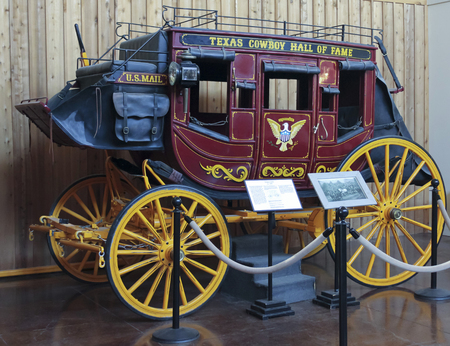 Foto für FORT WORTH, TEXAS, MARCH 15. The Texas Cowboy Hall of Fame on March 15, 2017, in Fort Worth, Texas. A Stagecoach at the Texas Cowboy Hall of Fame in the Fort Worth Stockyards in Fort Worth, Texas. - Lizenzfreies Bild