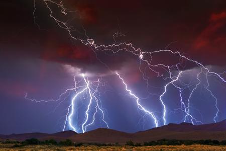 Stormy Skies with multiple lightning strikes