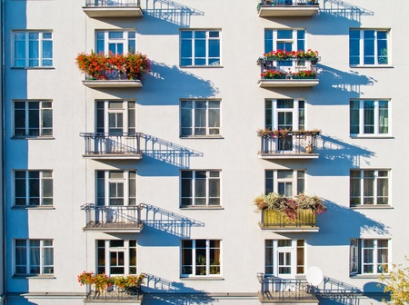 wall with windows of modern living apartments