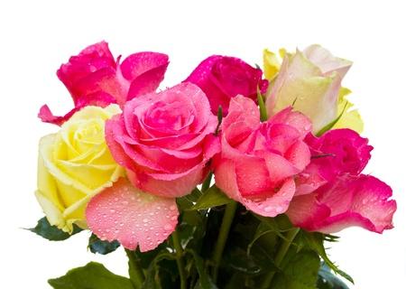Photo pour bouquet of roses isolated on white background - image libre de droit