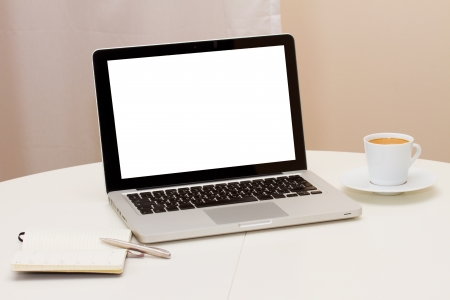Photo pour Working at home - open notebook, copy space on display - image libre de droit