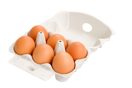 open box of raw eggs isolated on white background