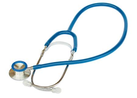 Blue professional stethoscope isolated on white background