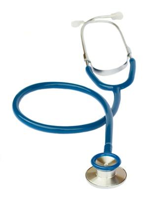 One blue  stethoscope isolated on white background
