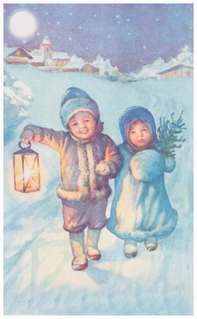 POLAND, WARSAW - CIRCA 1937 : old photo  of happy young boy and girls on winter road. Illustrative Image, subject of human interest