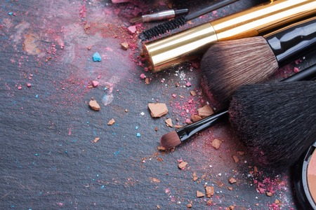 Photo for brushes on eye shadows palette - Royalty Free Image