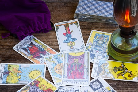 Photo for View of fortunetelling set with one of the most popular occult Tarot deck dating back 1910 - Royalty Free Image