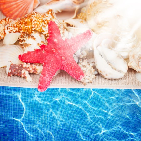 starfish and seashells on towel by pool water with sun rays
