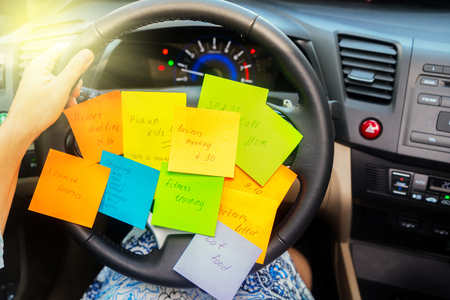 Photo for To do list in a car - busy day concept - Royalty Free Image