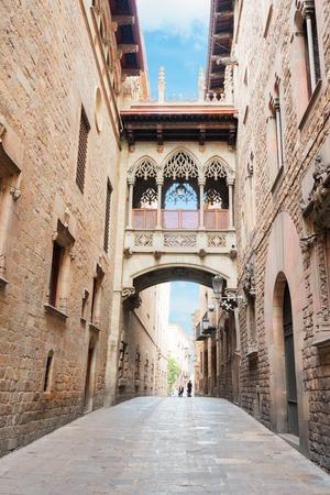 Famous Bridge between buildings in Barrio Gotic quarter of Barcelona, Spain
