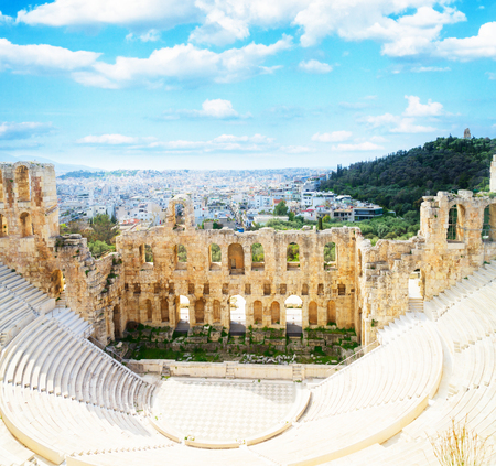 cup of Herodes Atticus amphitheater of Acropolis, Athens, Greece, retro toned