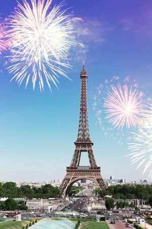 Photo pour view of Eiffel Tower and Paris cityscape with fireworks, France - image libre de droit