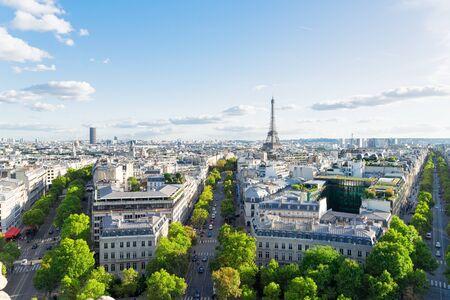 Photo pour panoramic view of famous Eiffel Tower and Paris boulevard streets, Paris France - image libre de droit
