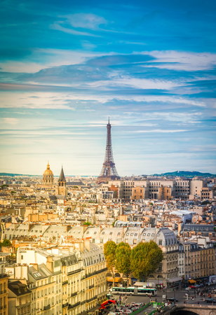 Foto de skyline of Paris city with eiffel tower landmark from above in soft morning light, France, retro toned - Imagen libre de derechos