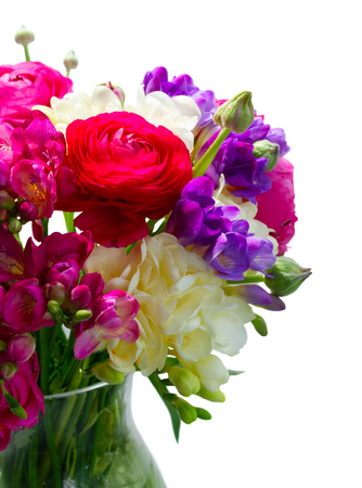 Photo pour Bouquet of freeseia and ranunculus fresh flowers close up isolated on white background - image libre de droit