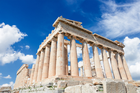 Photo for Parthenon temple over bright blue sky - Royalty Free Image