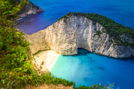 Photo for View of Navagio beach, famous lanscape of Zakinthos island, Greece, toned - Royalty Free Image