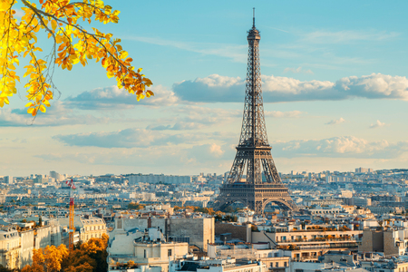 Photo for Eiffel Tower iconic landmark and Paris old roofs, Paris France at fall - Royalty Free Image