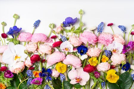 Photo pour Flowers composition. Border made of roses, ranunculus, pansies and orchids flowers on white background. Flat lay, top view scene. - image libre de droit