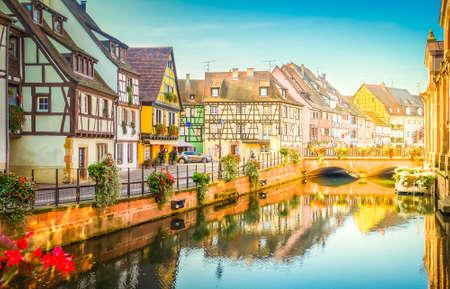 Photo pour canal of Colmar, most famous town of Alsace, France with sunshine - image libre de droit