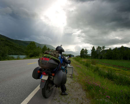 Motorcycle traveler with luggage