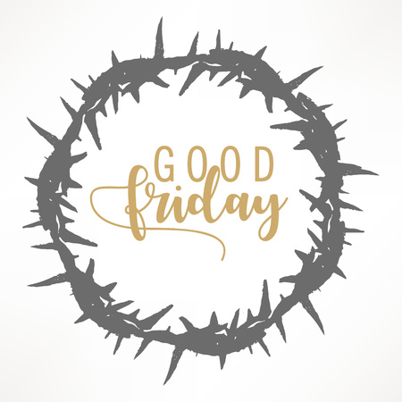 Illustration pour Abstract Good Friday editable vector illustration composed of crown of thorns and hand lettering text of GOOD FRIDAY. - image libre de droit