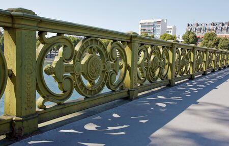 Mirabeau bridge, rail of 19 th century  Paris France