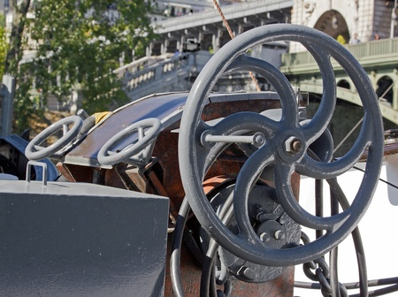 ip wheel of a barge in the Seine in Paris  France