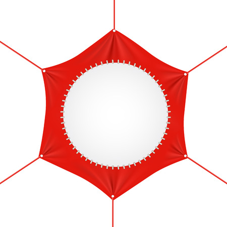 Blank red  hexagonal  banner with ropes attached to each corner pulling it tight  with folds and creases copyspace for your text