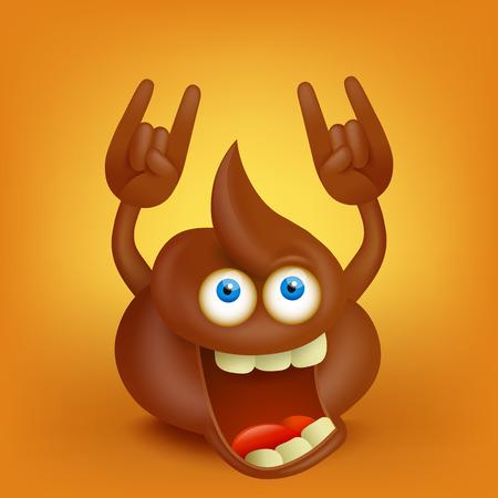 Funny cartoon poop character making hard rock sign
