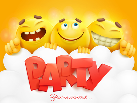 Illustration for Party invitation card template with three emoji characters. Vector illustration - Royalty Free Image