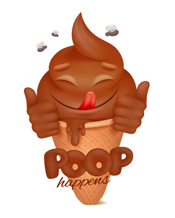 Poop cartoon emoticon funny character in waffle icecream tube. Vector illustration