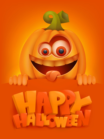 Illustration for Happy Halloween cartoon illustration with crazy pumpkin character. Vector illustration. - Royalty Free Image