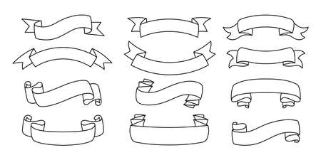 Illustration pour Ribbon outline hand drawn set. Tape blank flat collection, decorative icons. Vintage line design, ribbons sign linear style. Web icon kit of text banner tapes. Isolated vector illustration - image libre de droit