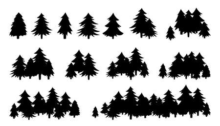 Illustration pour Forest trees textured, black silhouette. Hand drawn landscapes flat monochrome shape. Evergreen woods horizon. Various forms of cartoon wood. Vector illustration on white background - image libre de droit