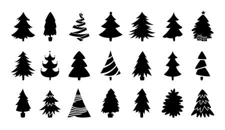 Illustration pour Christmas tree black silhouette collection. Hand drawing monochrome xmas trees cartoon set. New Year traditional design ornaments, stars, garlands. Stylized symbol for holiday flat vector illustration - image libre de droit