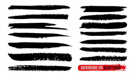 Illustration for Black Friday sale paint stripe template set. Ink painting, brush banner stroke. Watercolor grunge line texture. Black dirty splash blots shape border background. Isolated vector illustration - Royalty Free Image