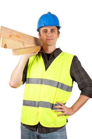 Photo pour Worker man holding planks. Over white. - image libre de droit