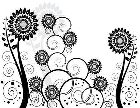 Illustration pour Black and White Garden - image libre de droit