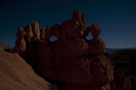 rock formation in Bryce Canyon NP by night