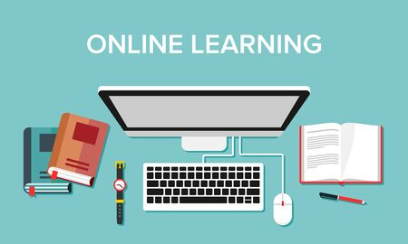 Illustration for Illustration of online learning activities using computer media and the internet. Suitable for visualization of online learning activities at home, educational web pages, and learning sites. - Royalty Free Image
